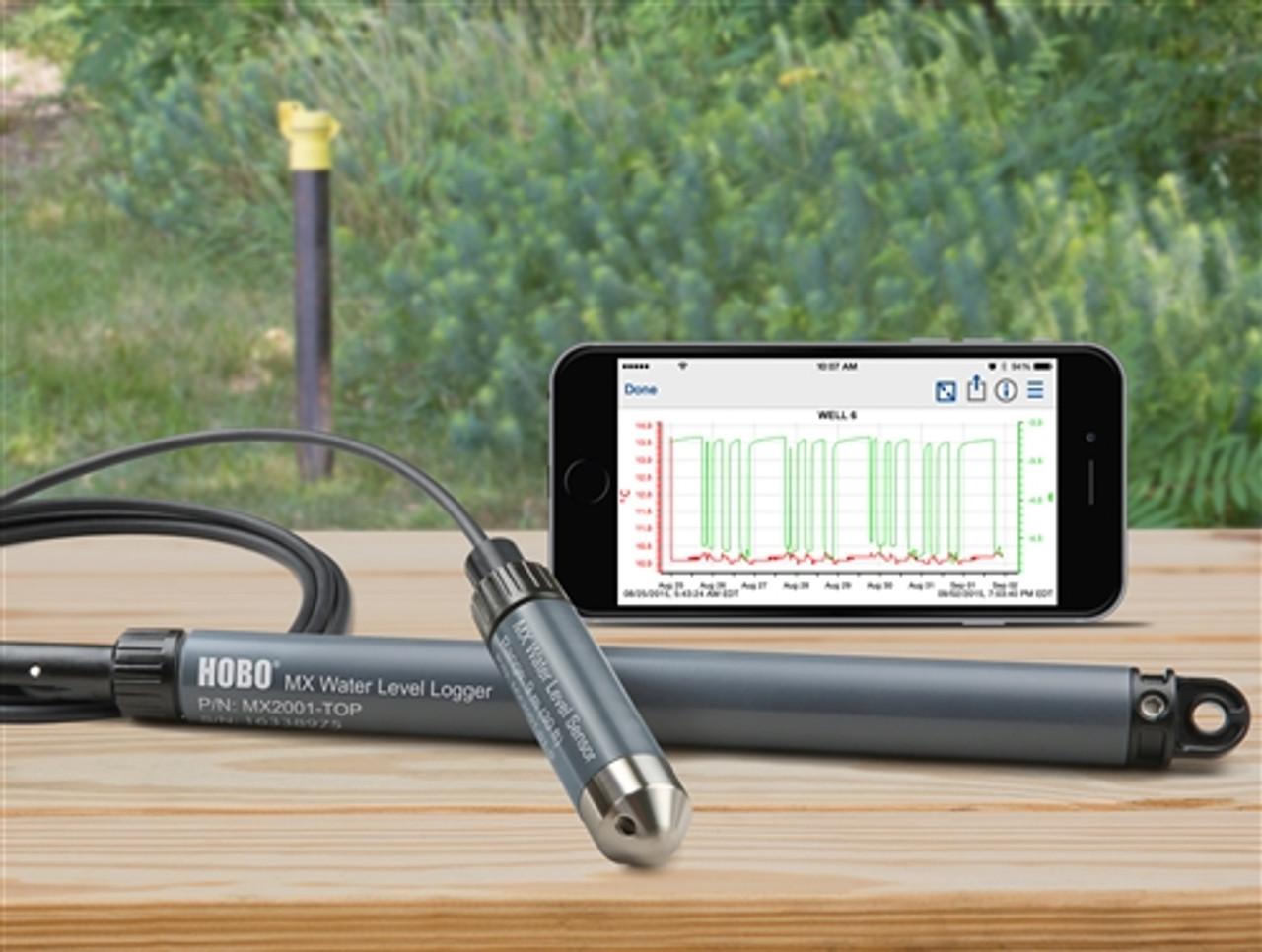 Onset HOBO Bluetooth (BLE) Water Level Data Logger - MX2001-01 (Stainless Steel) - 9 Meter (30') range