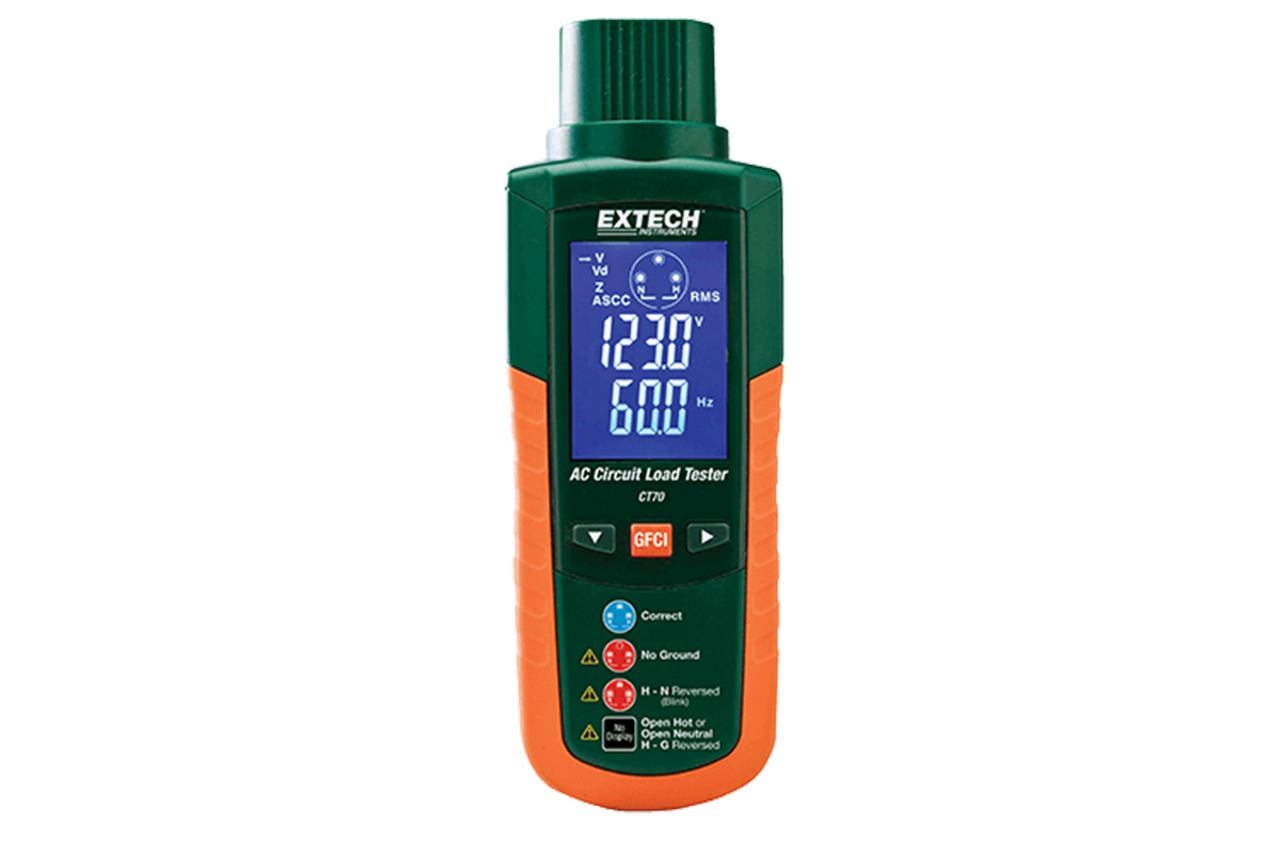 Extech CT70: AC outlet load handling capabilities plus Outlet Tester functions