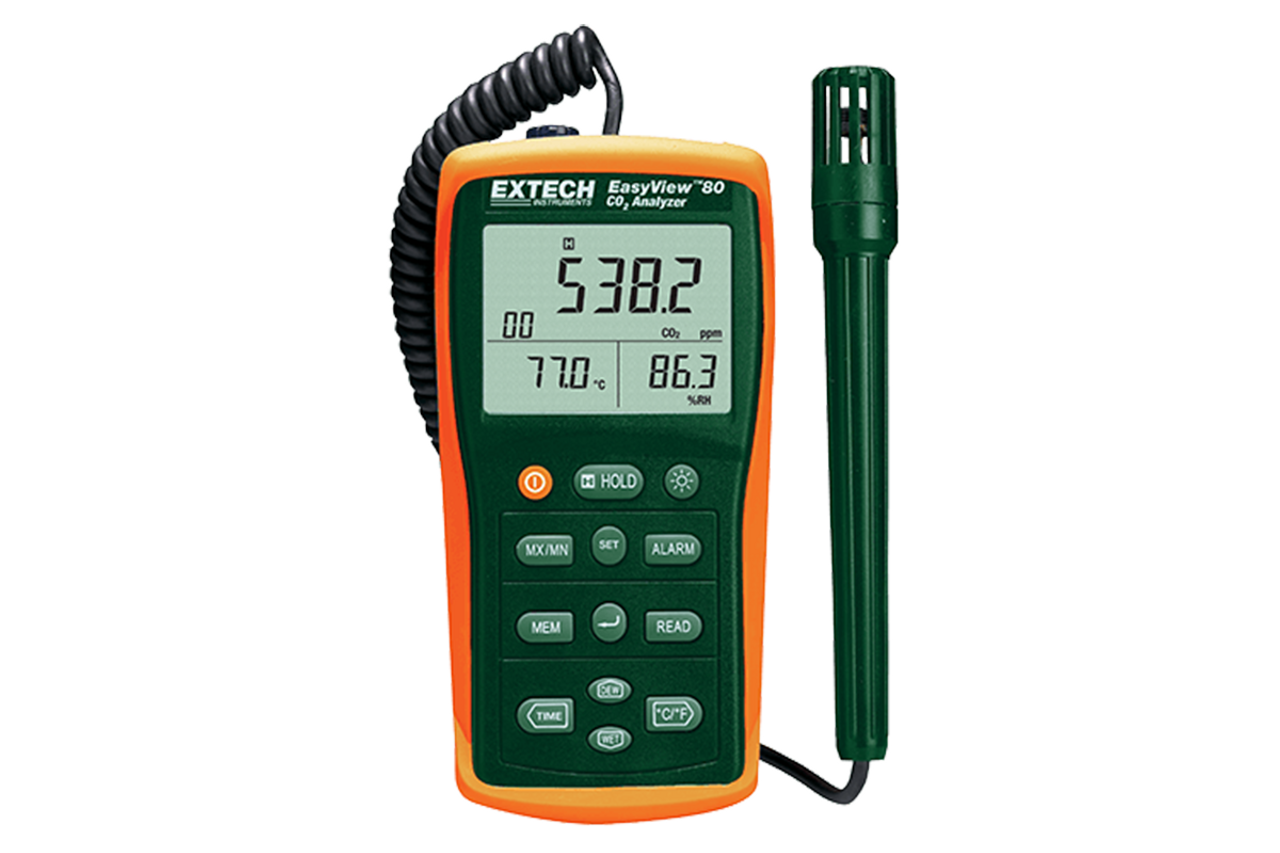 Extech EA80 - Indoor Air Quality Meter/Datalogger (Measures CO2, Temperature, Humidity, Dew Point, & Wet Bulb)
