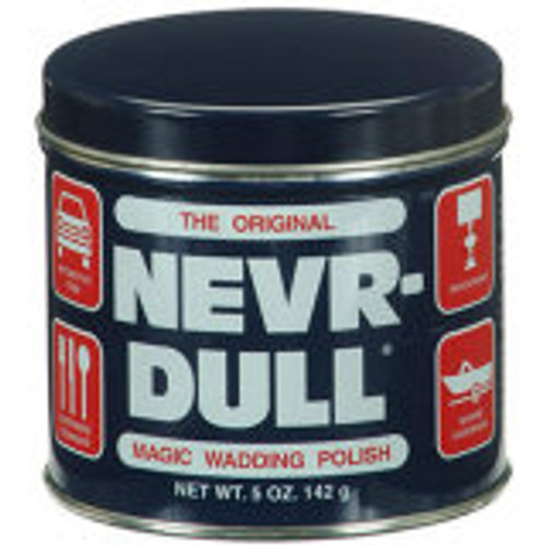 """NEVR-DULL"" WADDING POLISH For cleaning and polishing all metals. Easy to use, just tear off a small wad and rub slowly over surface to be cleaned, buff gently with dry cloth. Rust and tarnish disappear, leaving a high luster and protective film. Highlights: 5 oz. For all metals. Will not scratch."