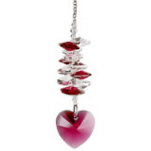 Woodstock Chimes Crystal Heart Cascade Suncatcher, Passion