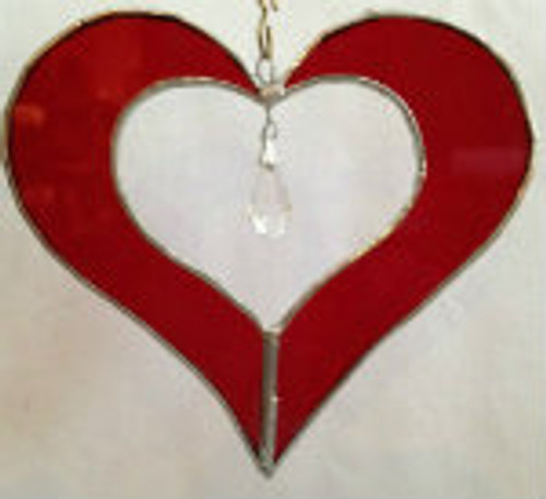 "5"" Stained Glass Heart with Crystal Sun Catchers"