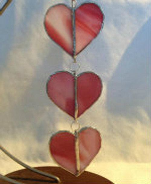 "6.25"" Stained Glass Hanging Hearts Hearts Sun Catchers-3 colors"
