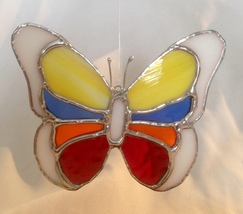 "6"" Stained Glass Multicolored Butterfly Sun Catcher"