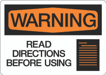 Warning - Read Directions Before Using
