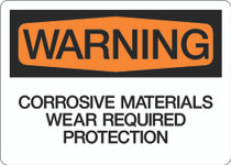 Warning - Corrosive Materials Wear Required Protection