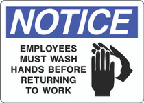 Notice Sign - Employees Must Wash Hands Before Returning to Work