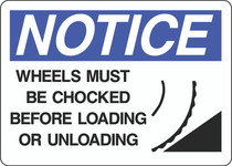 Notice Sign -  Wheels Must Be Chocked Before Loading or Unloading