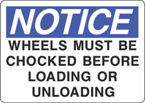 Notice Sign -Wheels Must Be Chocked Before Loading or Unloading
