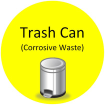 Floor Sign - Trash Can (Corrosive Waste)