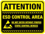 Floor Sign - Attention ESD Control Area (black background)