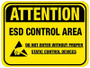 Floor Sign - Attention ESD Control Area (yellow backgorund)
