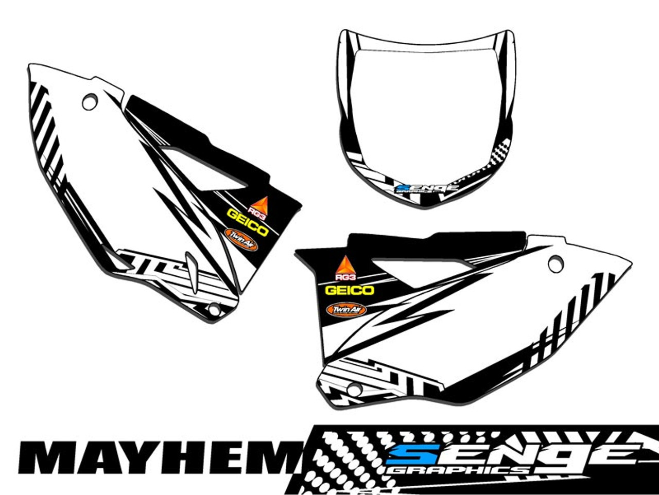 MAYHEM WHITE CUSTOM MX PLATES