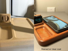 Apple iPhone and Apple Watch phone charger printed stained. On the left is the printed object and on the right is the finished sanded and stained product.