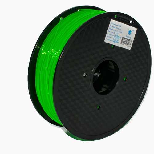 A 1KG spool of SnoLabs Transparent Green PLA (1.75mm)