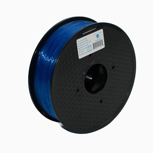 A 1KG spool of SnoLabs Transparent Blue PLA+ (1.75mm)