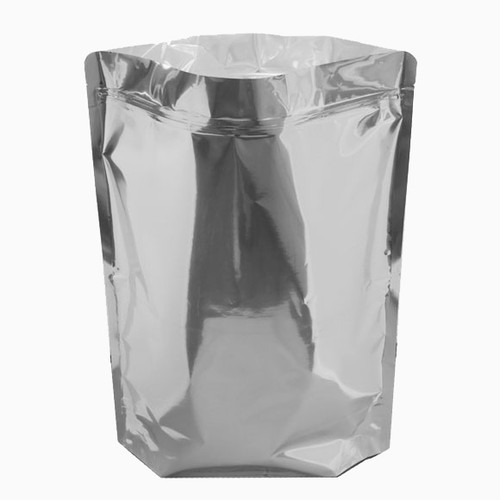 mylar bag standing up.