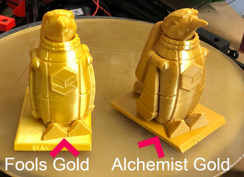 A penguin in fools gold on left and alchemist gold on right.