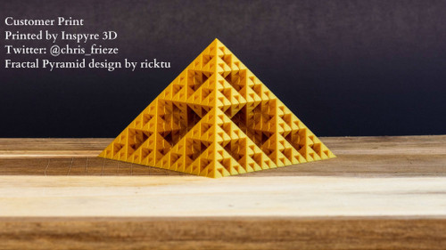 Fractal Pyramid design by ricktu and print by @chris_frieze in our Alchemist Gold Silk PLA Plus.