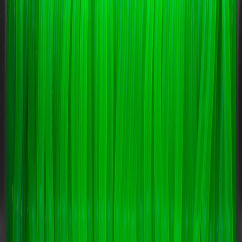 A close up of our transparent green filaments.
