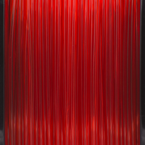 A close up of our transparent red filaments.
