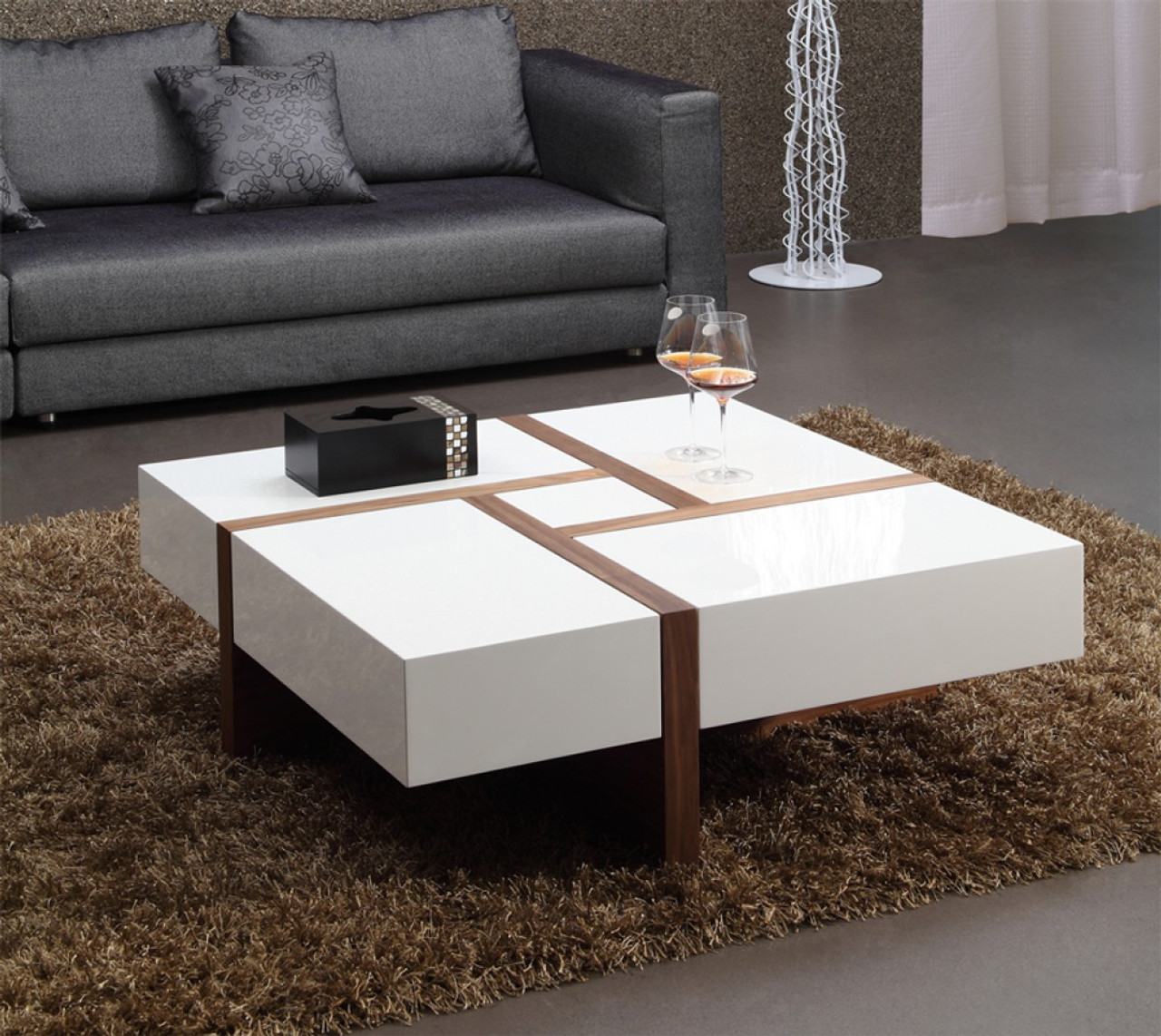 Strange Modrest Makai Modern White Walnut Square Coffee Table Caraccident5 Cool Chair Designs And Ideas Caraccident5Info