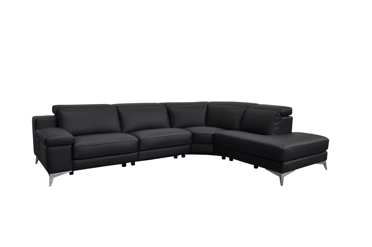 Estro Salotti Hypnose Italian Modern Black Leather Sectional Sofa Recliner