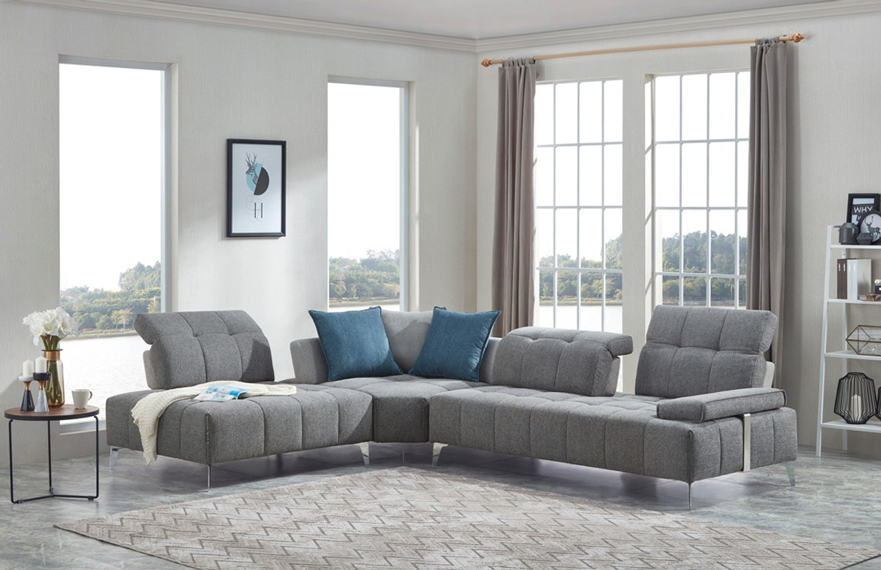 Nash Modern Contemporary Grey Tufted Fabric Sectional Sofa