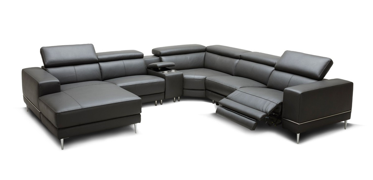 Wade Modern Dark Grey Leather Sectional Sofa 2 Electric Recliners