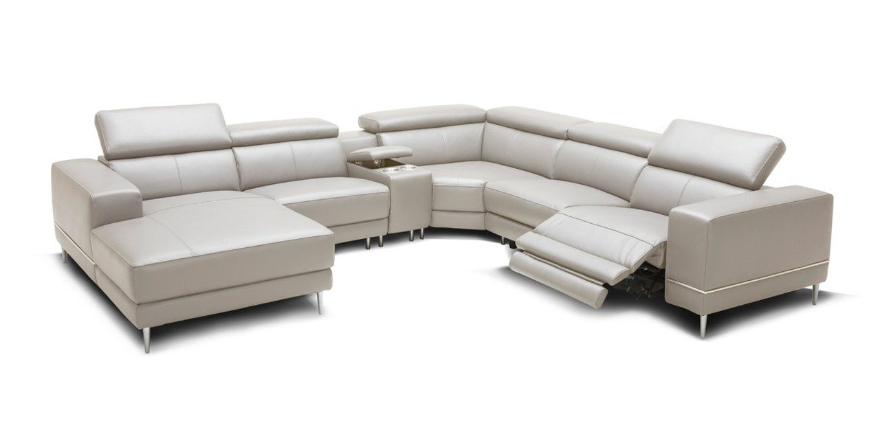 Wade Modern Light Grey Leather Sectional Sofa 2 Electric Recliners