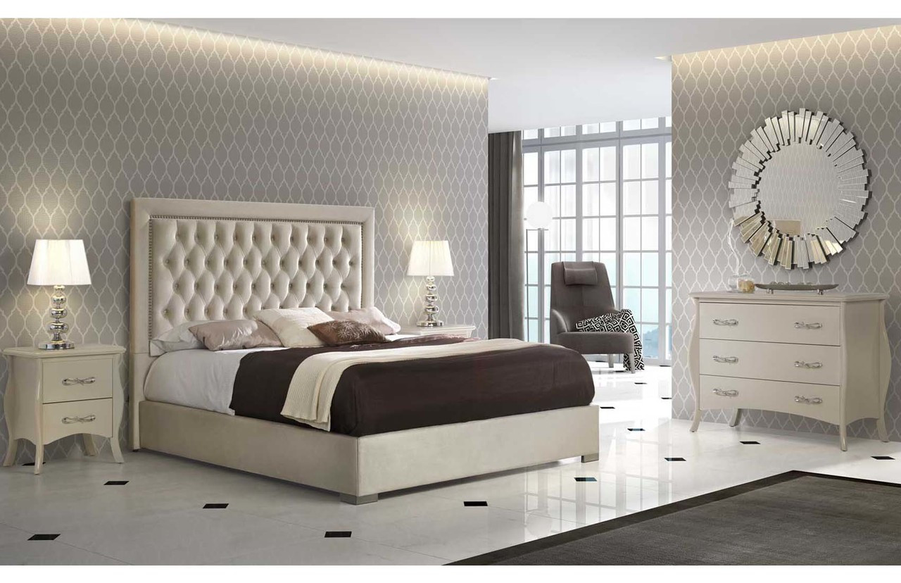 Dupen Spain Adagio Microfiber Ivory Modern Bedroom Set