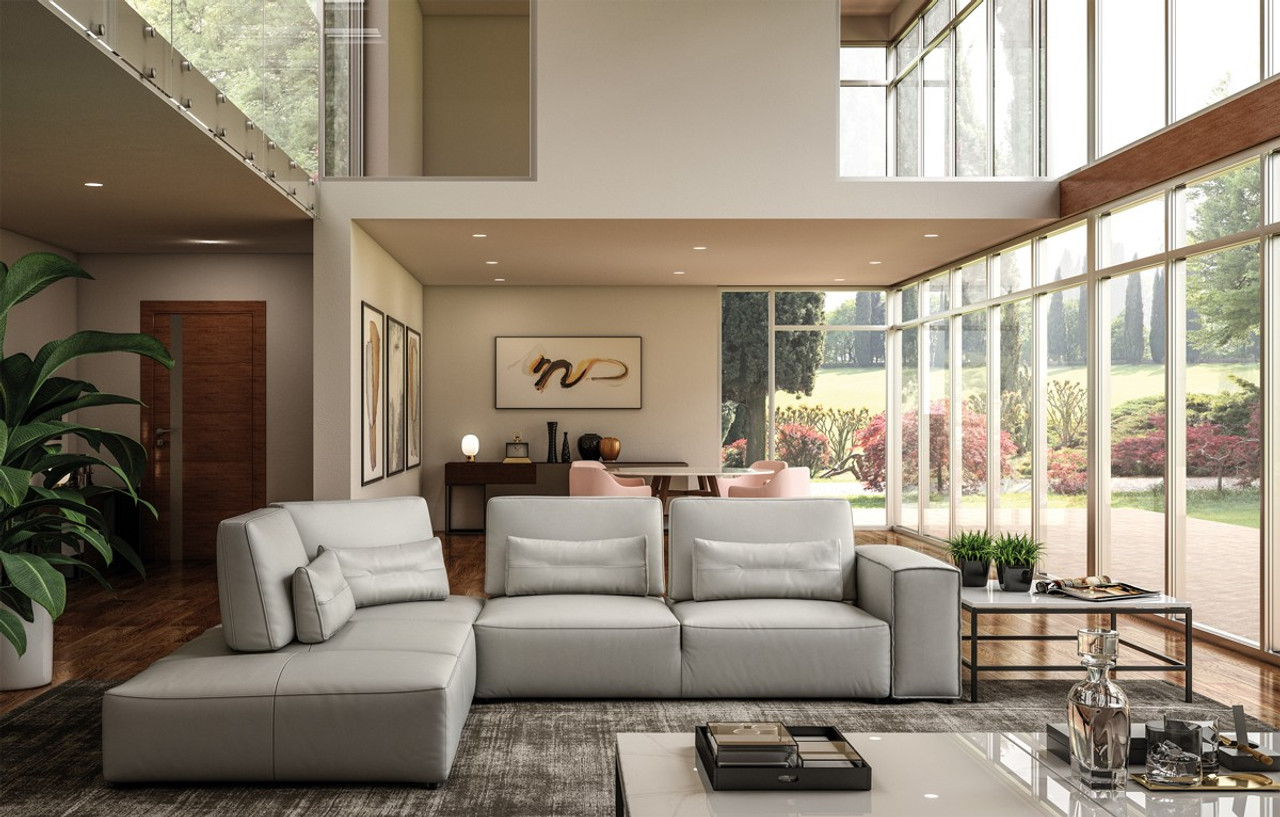 Accenti Italia Enjoy Italian Modern Light Grey Leather Sectional Sofa Stylish Design Furniture