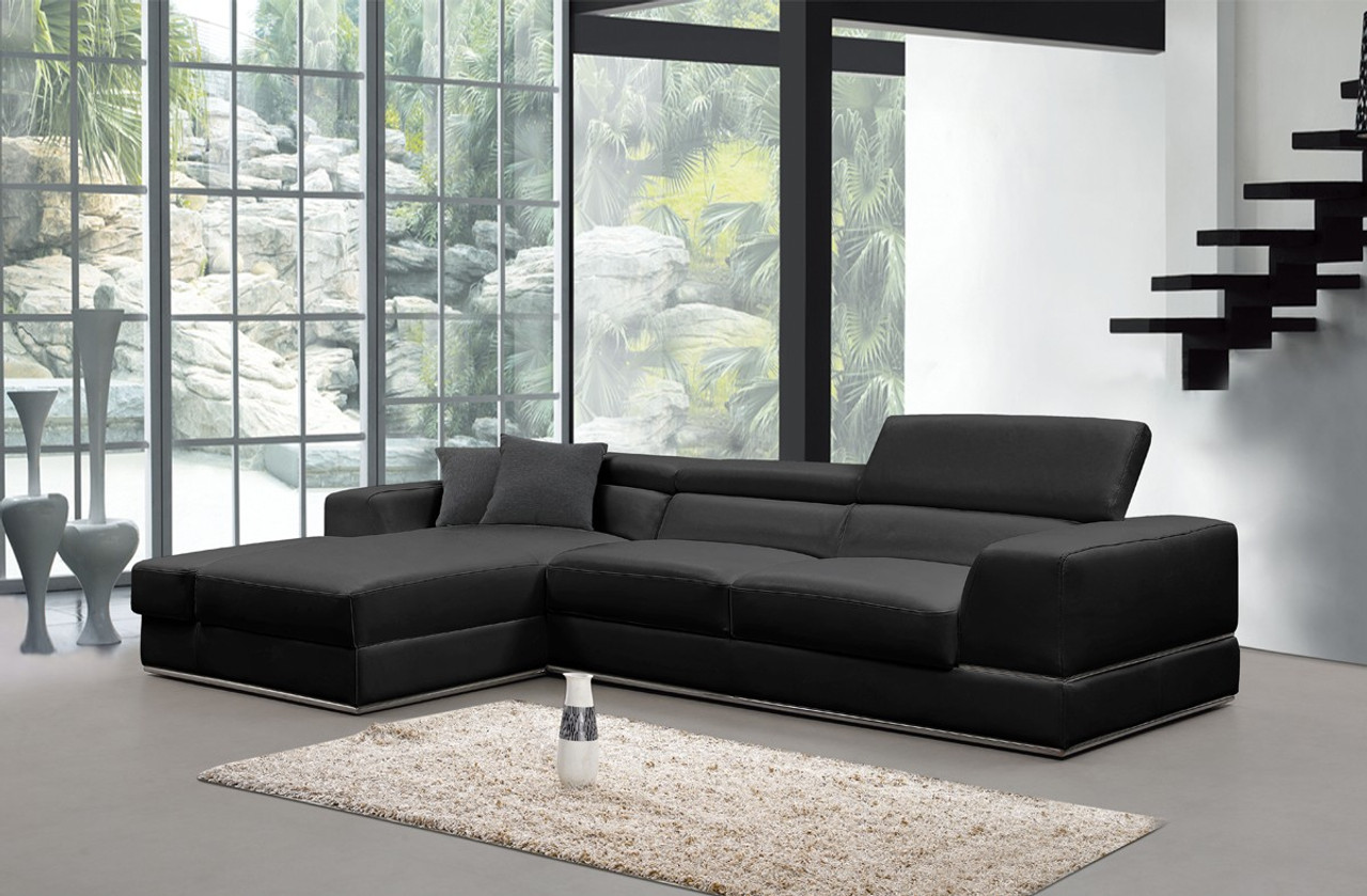 Divani Casa Pella Mini Modern Black Leather Sectional Sofa