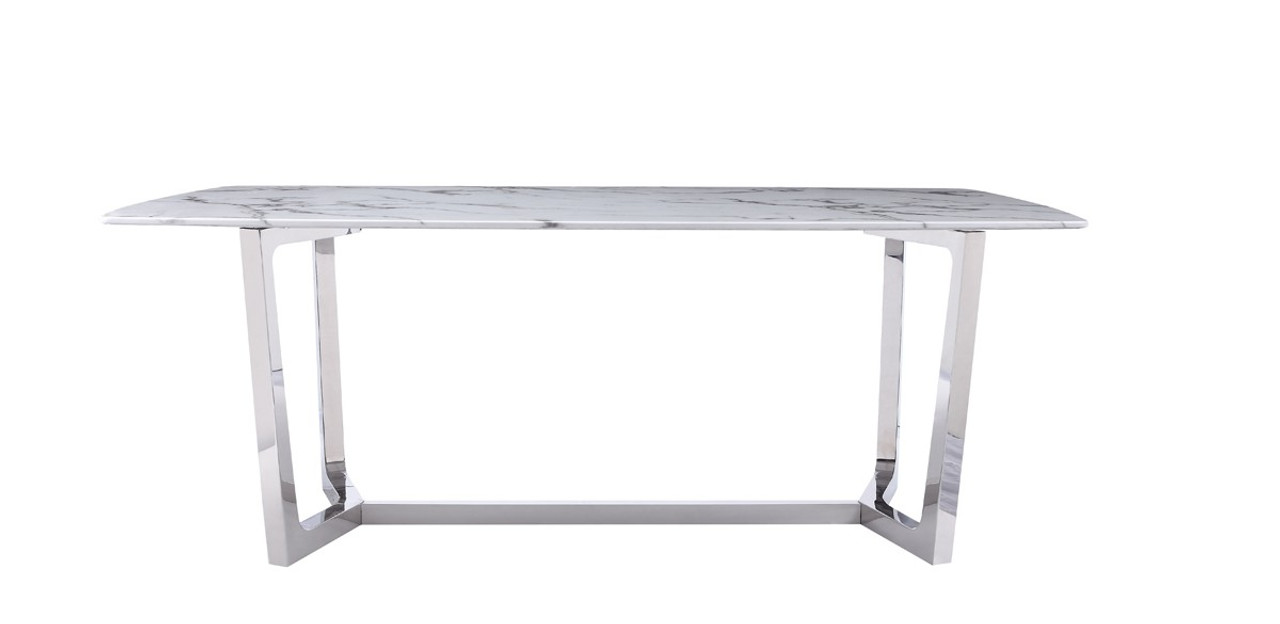 Modrest Garrett Modern White Faux Marble Stainless Steel Dining Table Stylish Design Furniture