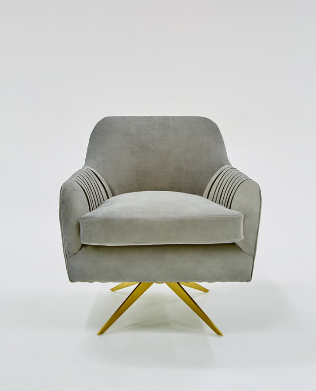 Incredible Divani Casa Abigail Modern Grey Velvet Swivel Accent Chair Dailytribune Chair Design For Home Dailytribuneorg