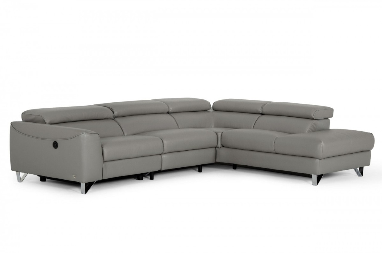 Picture of: Divani Casa Versa Modern Grey Teco Leather Raf Chaise Sectional W Recliner Stylish Design Furniture