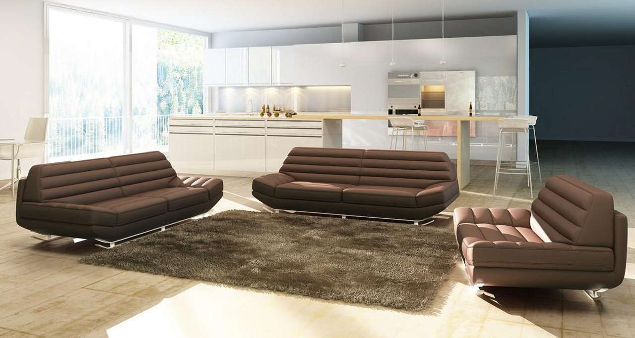 Divani Casa 3979 Modern Brown Bonded Leather Sofa Set