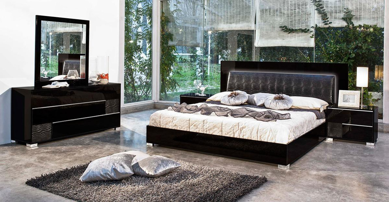 Modrest Grace Italian Modern Black Bedroom Set Queen