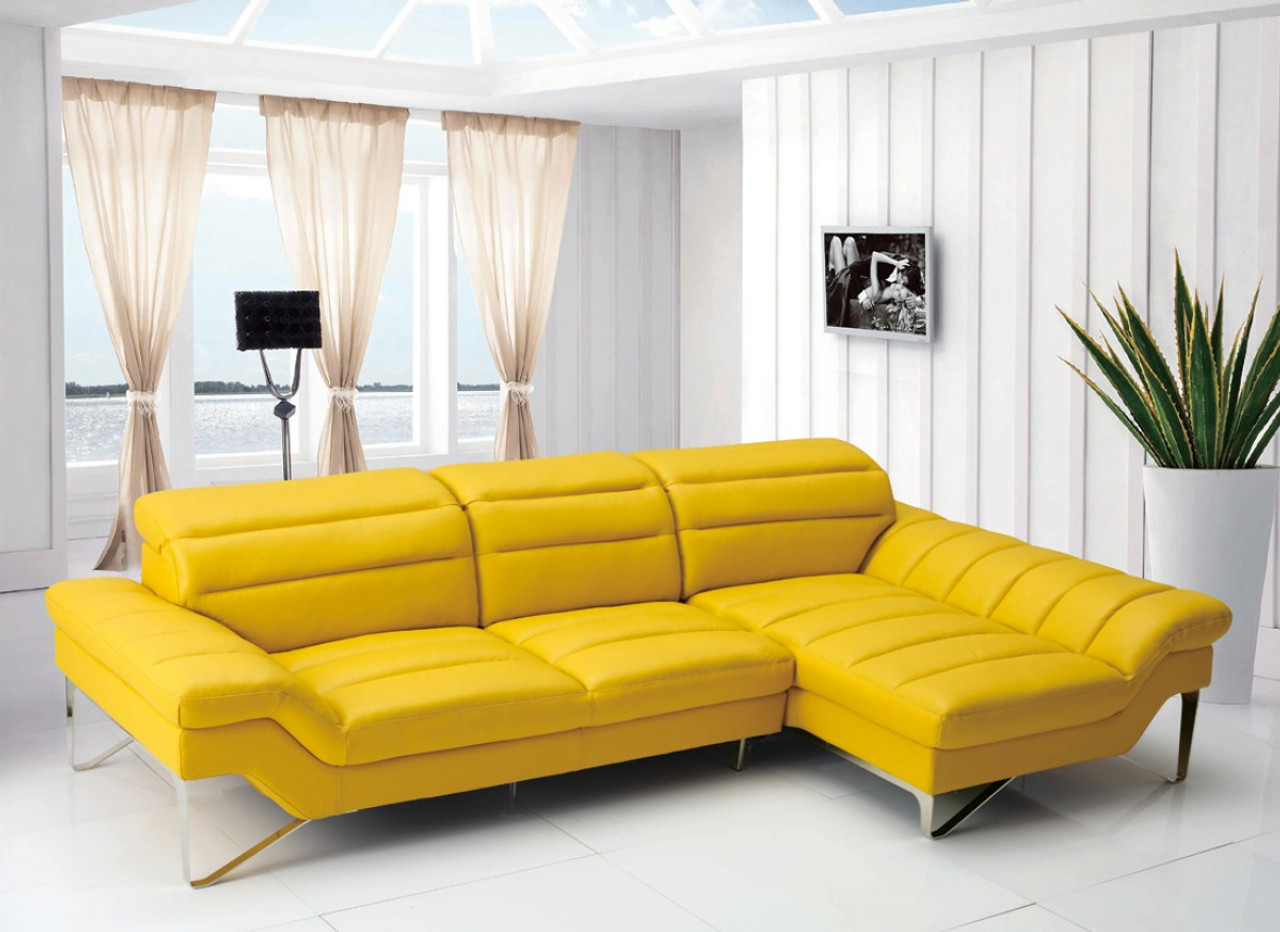 Amazing Divani Casa 994B Modern Yellow Leather Sectional Sofa Caraccident5 Cool Chair Designs And Ideas Caraccident5Info