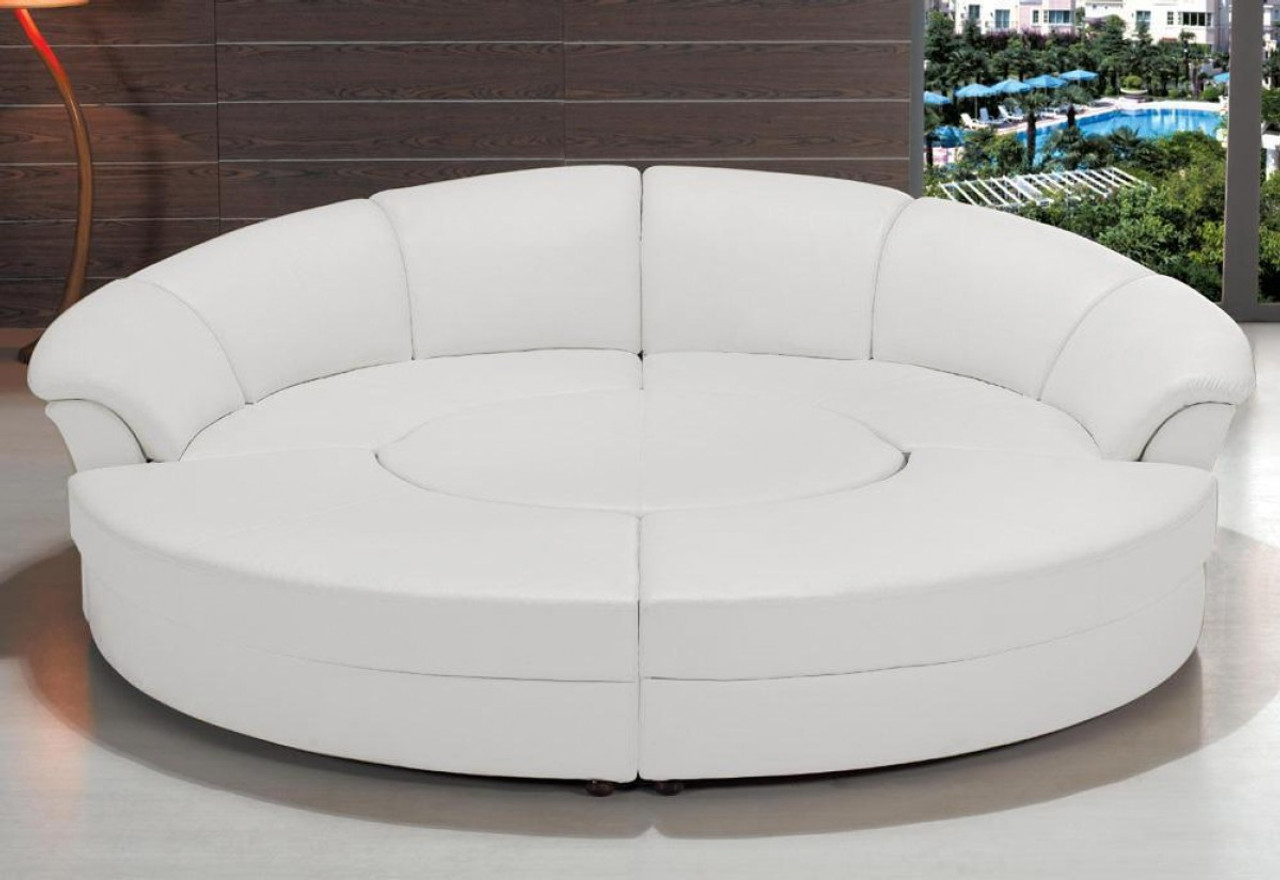 Circle Modern Bonded Leather Circular Sectional 5 Piece Sofa Set