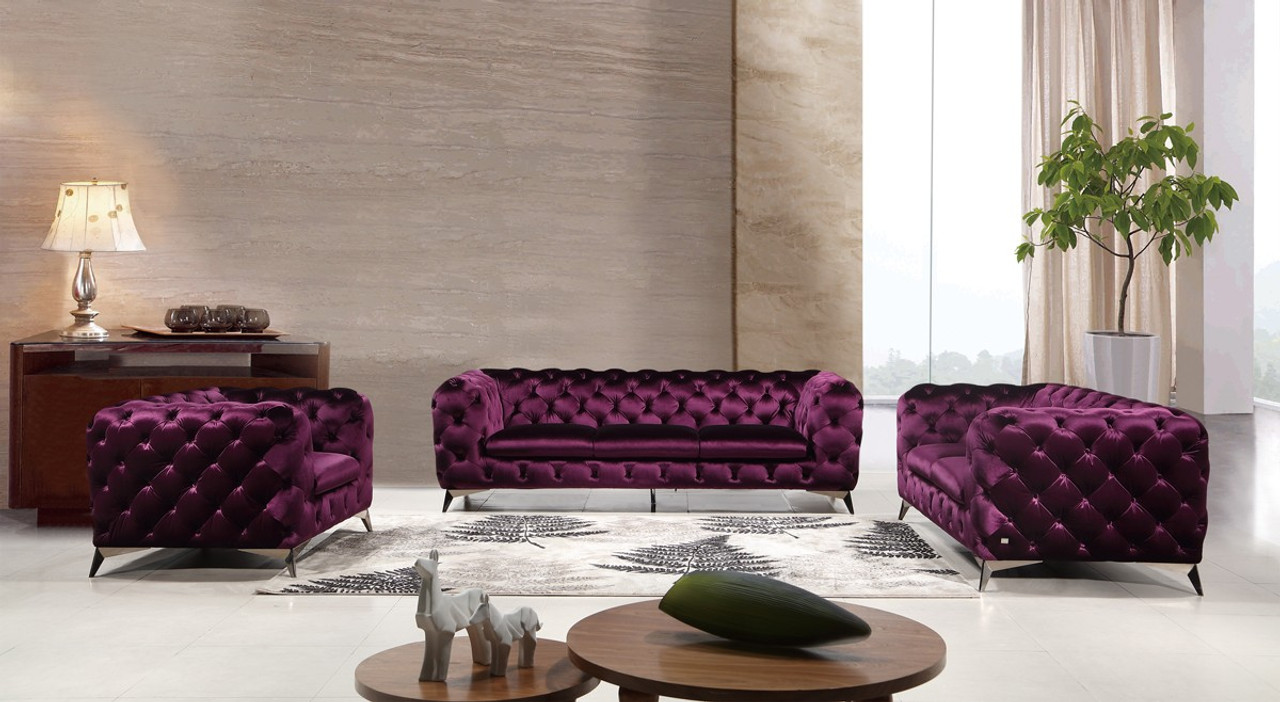 Divani Casa 1546 Modern Purple Fabric Sofa Set