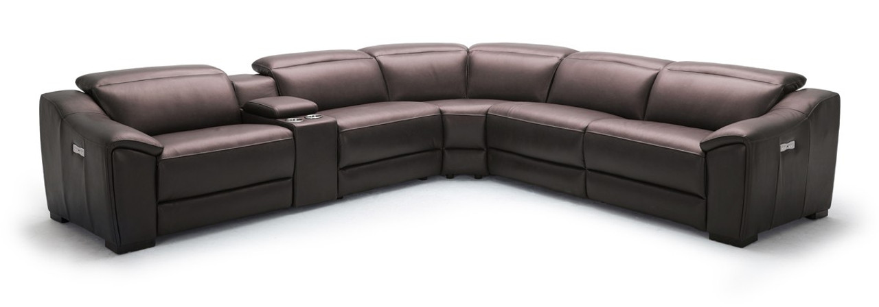 Divani Casa Gentry Modern Grey Eco-Leather Sectional Sofa Recliners