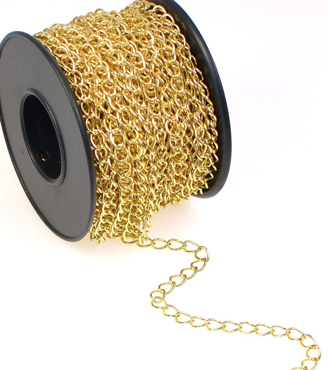 32 Foot Spool Gold Plated Brass Bulk Curb Chain with 2.8x4mm Links