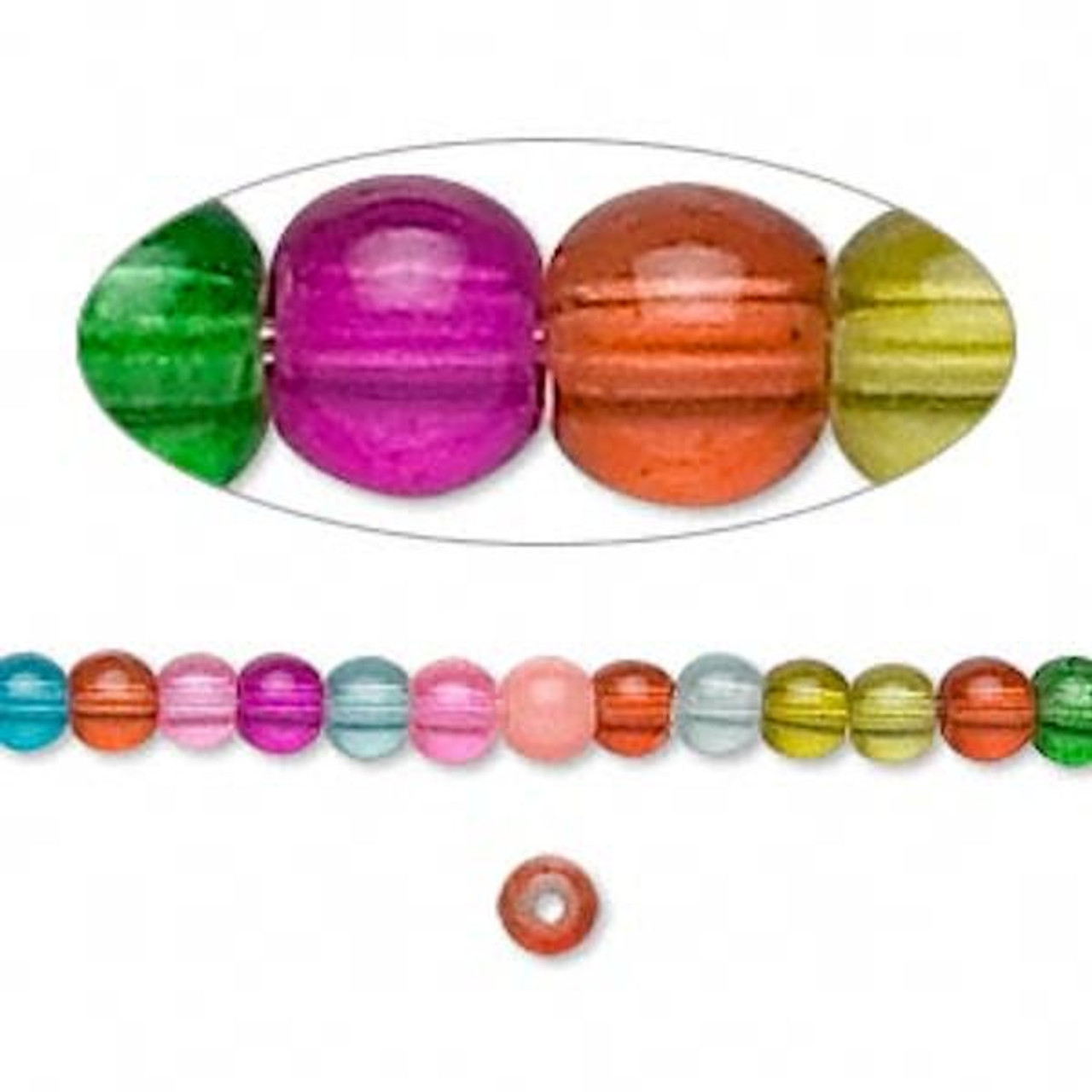 36 Inch Strand of Jewel Glass Beads 4MM