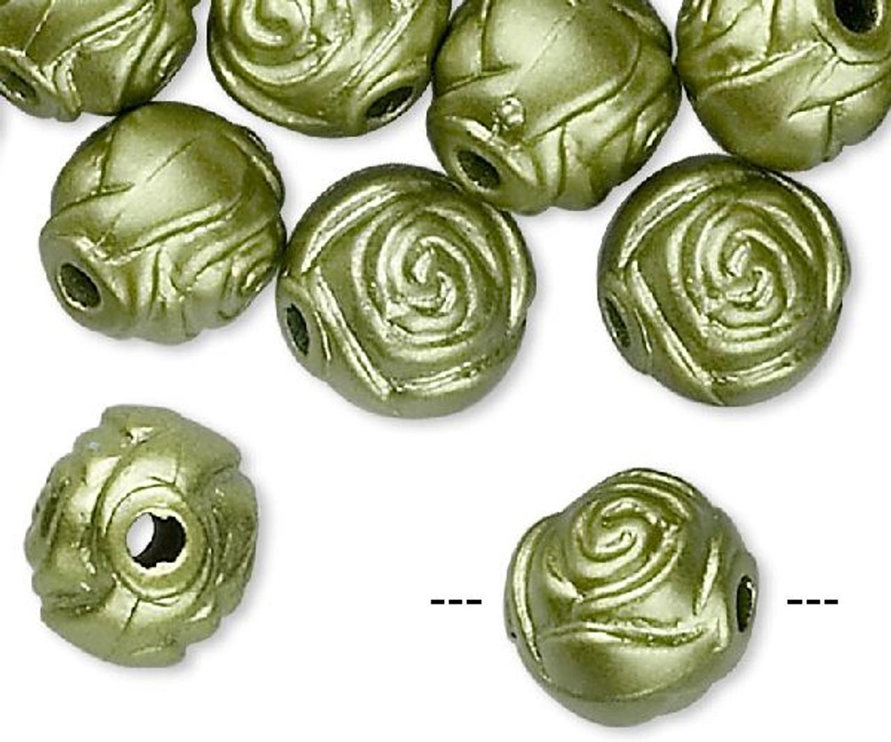 100 Metallic Teal Acrylic 8mm Round Rose Flower Beads