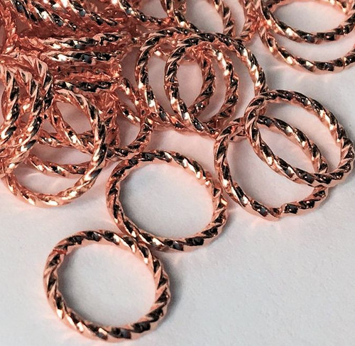144 Fancy Twisted Copper Plated Brass 10mm 16 Gauge Jump Rings *