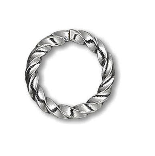 100 Antiqued Silver Plated Brass 16 Gauge 8mm Twisted Round Jump Rings