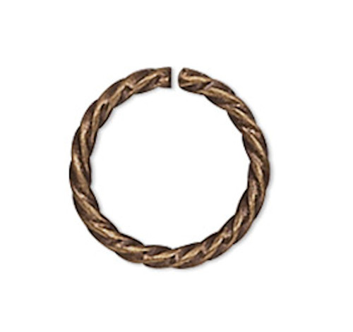 100 Antiqued Gold Plated Brass 6mm Twisted Round 20 Gauge Jump Rings with 4mm ID
