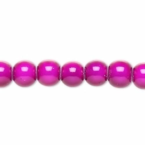 1 Strand Hot Fuchsia Acrylic (IM) Miracle  6mm Round Beads *