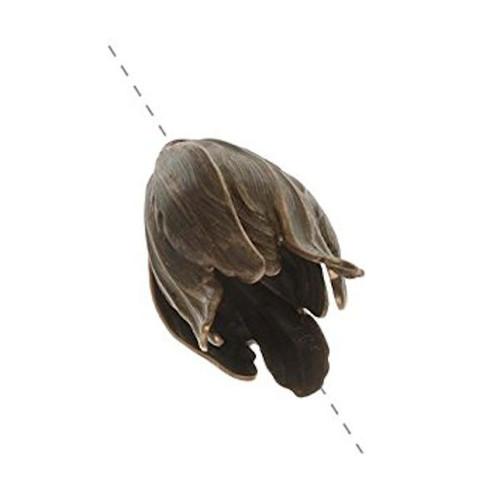 1 Antiqued Natural Brass 22x14mm Flourish Petal Bead Cap